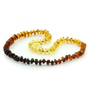 Baltic Amber Teething Necklace. Round Flat Rainbow V1 5x3 mm
