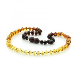Baltic Amber Teething Necklace. Baroque Rainbow V2 5x4 mm