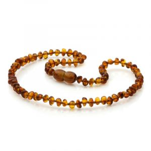 Baltic Amber Teething Necklace. Baroque Cognac 4x3 mm