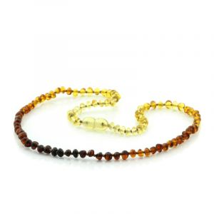 Adult Baltic Amber Necklace. Baroque Rainbow V1 4x3 mm