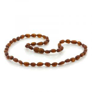 Adult Semi Polished Baltic Amber Necklace. Olive Cognac Matt 5x4 mm