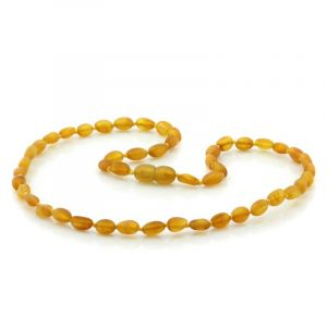Adult Semi Polished Baltic Amber Necklace. Olive Light Cognac Matt 5x4 mm
