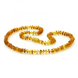 Adult Baltic Amber Necklace. Round Flat Light Cognac 5x3 mm