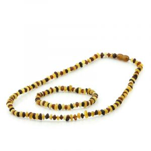 Adult Raw Baltic Amber Necklace & Bracelet Set. Round Flat Multicolor 5x3 mm