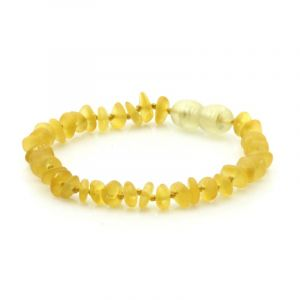 Semi Polished Baltic Amber Teething Bracelet. Round Flat Yellow Matt 5x2 mm