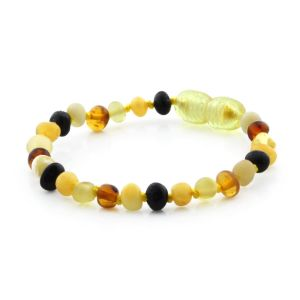BALTIC AMBER TEETHING BRACELET. BAROQUE MIX I-A 4X4 MM