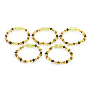 BALTIC AMBER BRACELET FOR KIDS WHOLESALE LOT OF 5PCS. BAROQUE. XB44M1