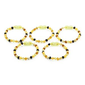 BALTIC AMBER BRACELET FOR KIDS WHOLESALE LOT OF 5PCS. BAROQUE. XB44M1-A