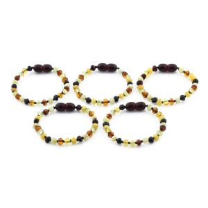 BALTIC AMBER BRACELET FOR KIDS WHOLESALE LOT OF 5PCS. BAROQUE. XB44M2-A