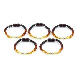 BALTIC AMBER BRACELET FOR KIDS WHOLESALE LOT OF 5PCS. BAROQUE. XB44R2