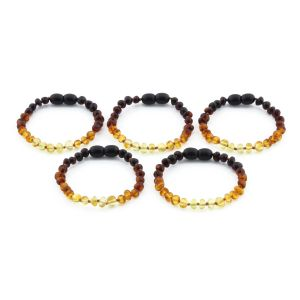 BALTIC AMBER BRACELET FOR KIDS WHOLESALE LOT OF 5PCS. BAROQUE. XB54R2