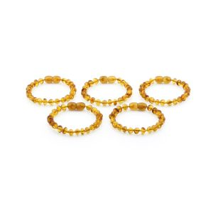 BALTIC AMBER BRACELET FOR KIDS WHOLESALE LOT OF 5PCS. BAROQUE. XB54LC