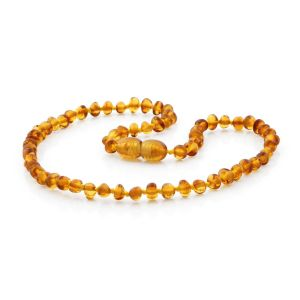 BALTIC AMBER TEETHING NECKLACE. BAROQUE LIGHT COGNAC 4X3 MM