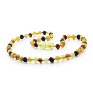 BALTIC AMBER TEETHING NECKLACE. BAROQUE MIX I 4X4 MM