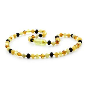 BALTIC AMBER TEETHING NECKLACE. BAROQUE MIX I-A 4X4 MM