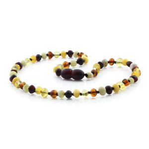 BALTIC AMBER TEETHING NECKLACE. BAROQUE MIX II-A 4X4 MM