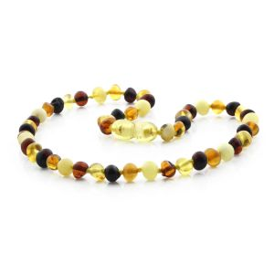 BALTIC AMBER NECKLACE FOR KIDS. BAROQUE MULTICOLOR I 5X5 MM