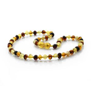 BALTIC AMBER TEETHING NECKLACE. BAROQUE MIX I 5X4 MM