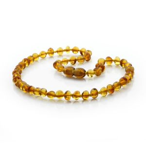BALTIC AMBER TEETHING NECKLACE. BAROQUE LIGHT COGNAC 5X4 MM