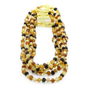 BALTIC AMBER NECKLACE FOR KIDS WHOLESALE LOT OF 5PCS. BAROQUE. XB44M1