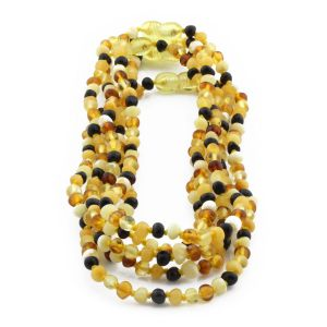 BALTIC AMBER NECKLACE FOR KIDS WHOLESALE LOT OF 5PCS. BAROQUE. XB44M1-A