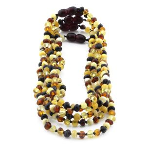 BALTIC AMBER NECKLACE FOR KIDS WHOLESALE LOT OF 5PCS. BAROQUE. XB44M2-A