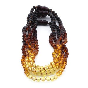 BALTIC AMBER NECKLACE FOR KIDS WHOLESALE LOT OF 5PCS. BAROQUE. XB44R2