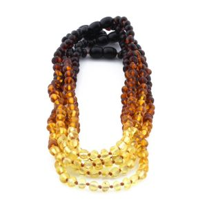 BALTIC AMBER NECKLACE FOR KIDS WHOLESALE LOT OF 5PCS. BAROQUE. XB54R2