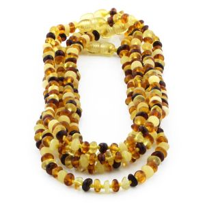 BALTIC AMBER NECKLACE FOR KIDS WHOLESALE LOT OF 5PCS. ROUNDEL. XR53M1