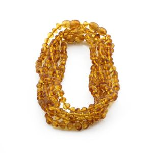 BALTIC AMBER NECKLACES FOR KIDS WHOLESALE LOT OF 5PCS. BAROQUE. XB54LC
