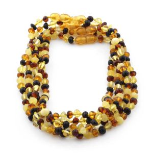 BALTIC AMBER NECKLACES FOR KIDS WHOLESALE LOT OF 5PCS. BAROQUE. XB54M1