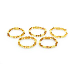 BALTIC AMBER BRACELET FOR KIDS WHOLESALE LOT OF 5PCS. BAROQUE. XB54LCMY