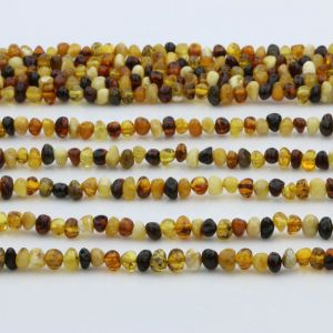 "Genuine Baltic Amber Loose Beads Strand 40cm / 15,7""- Baroque 5mm. BA54MIX"