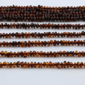 "Genuine Baltic Amber Loose Beads Strand 40cm / 15,7""- Round Flat 5mm. RO53C2"