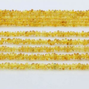 "Genuine Baltic Amber Loose Beads Strand 40cm / 15,7""- Round Flat 5mm. RO53Y"