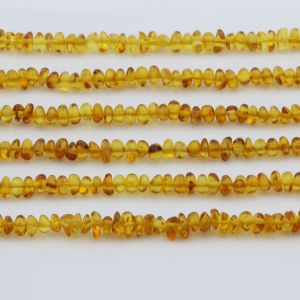 "Genuine Baltic Amber Loose Beads Strand 40cm / 15,7""- Round Flat 5mm. RO53LC"