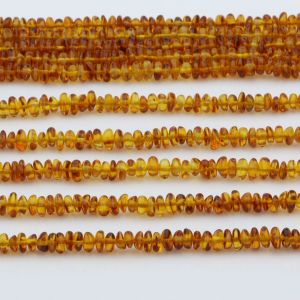 "Genuine Baltic Amber Loose Beads Strand 40cm / 15,7""- Round Flat 5mm. RO53LC1"