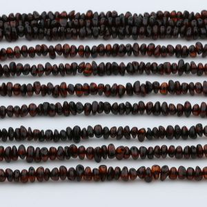 "Genuine Baltic Amber Loose Beads Strand 40cm / 15,7""- Round Flat 5mm. RO53DC"