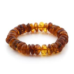 Adult Baltic Amber Bracelet Tablet Beads 12mm 17gr. TB145