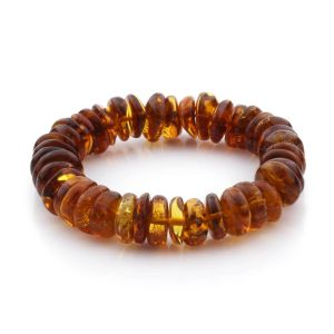 Adult Baltic Amber Bracelet Tablet Beads 11mm 16gr. TB148