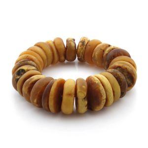 Adult Baltic Amber Bracelet Tablet Beads 20mm 58gr. TB217