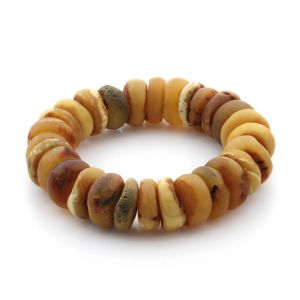 Adult Baltic Amber Bracelet Tablet Beads 16mm 39gr. TB218