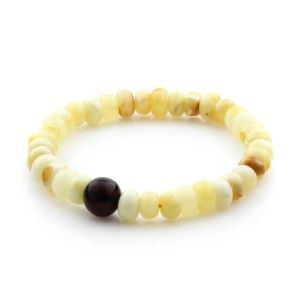 Adult Baltic Amber Bracelet Tablet Beads 10mm 7gr. TB238