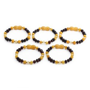BALTIC AMBER BRACELET FOR KIDS WHOLESALE LOT OF 5PCS. BAROQUE. LE362