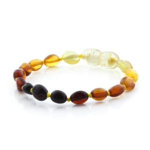 BALTIC AMBER TEETHING BRACELET. OLIVE RAINBOW I 5X4 MM
