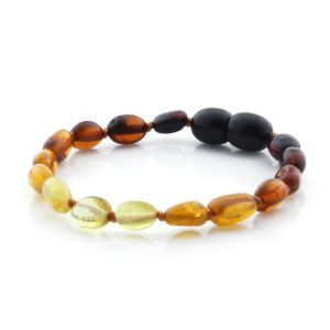 BALTIC AMBER TEETHING BRACELET. OLIVE RAINBOW II 5X4 MM