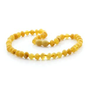 BALTIC AMBER TEETHING NECKLACE . BAROQUE MILKY ORANGE TRANSPARANT 6X5 MM