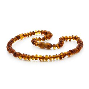 BALTIC AMBER TEETHING NECKLACE . ROUNDEL COGNAC 5X3 MM