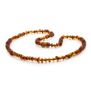 ADULT BALTIC AMBER NECKLACE. ROUNDEL COGNAC A 5X3 MM