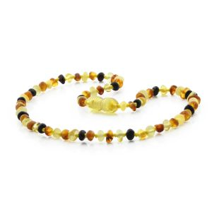 BALTIC AMBER TEETHING NECKLACE. BAROQUE MIX I 4x3 MM